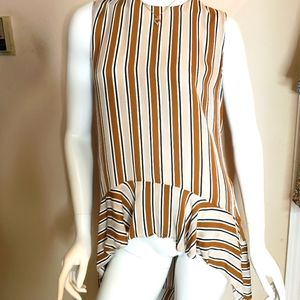 Zara Asymmetrical stripe ruffle hem keyhole tank